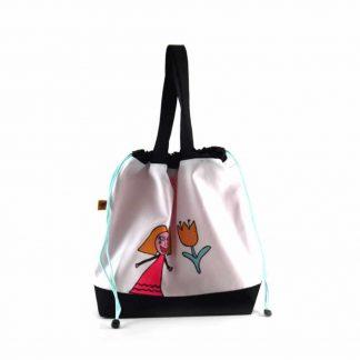 Fekete-fehér kislányos tulipános festett táska