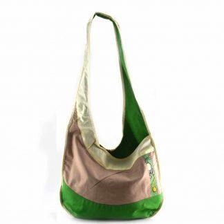Zöld-drapp cicás hobbi táska