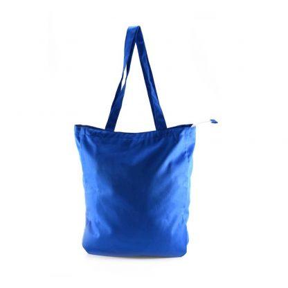 Kék-fehér aranyágas-madaras festett táska