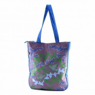Kék-lila aranyágas-madaras festett táska
