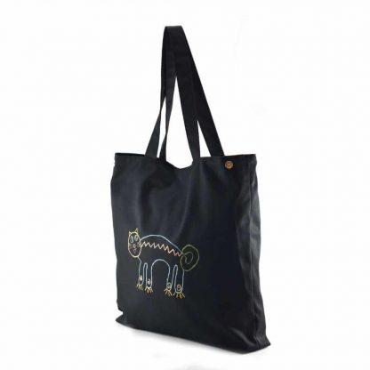 Fekete cicás festett táska