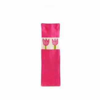 Rózsaszín tulipános könyvjelző