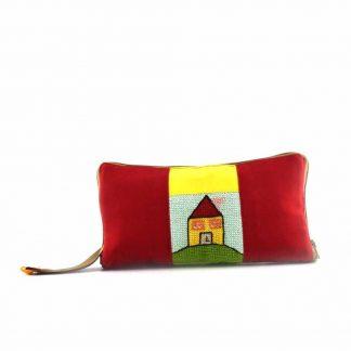 Piros-sárga házas pikk-pakk hátizsák