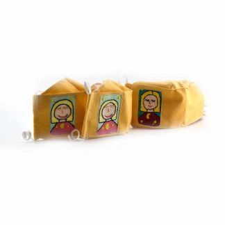 Sárga hímzett szájmaszk felnőtteknek