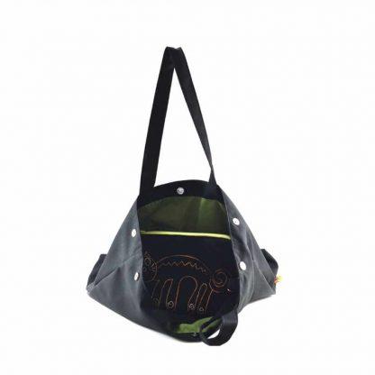 Fekete cicás festett táska neszesszerrel