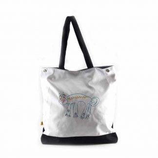 Fehér színes cicás festett táska