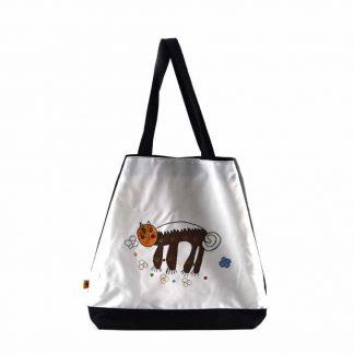 Fehér barna cicás festett táska
