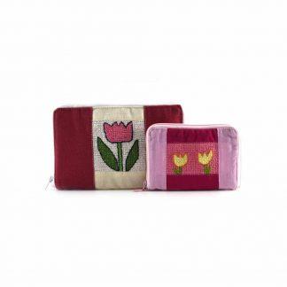 Rózsaszín tulipános pénztárca páros