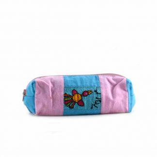 Rózsaszín-kék madaras tolltartó