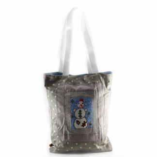 Barna-szürke hóemberes táska