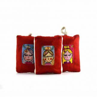 Piros angyalkás pikk-pakk táska