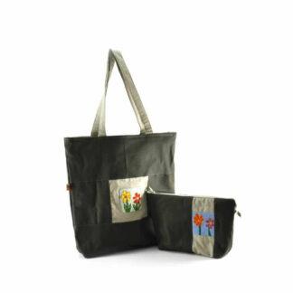 Olívzöld virágos táskás ajándékcsomag