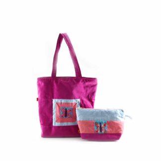 Pink pillangós táskás ajándékcsomag