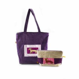 Lila kutyás táskás ajándékcsomag