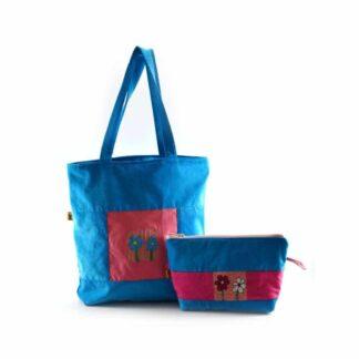 Kék virágos táskás ajándékcsomag