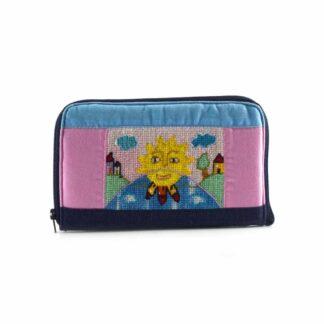 Kék-rózsaszín napocskás pénztárca