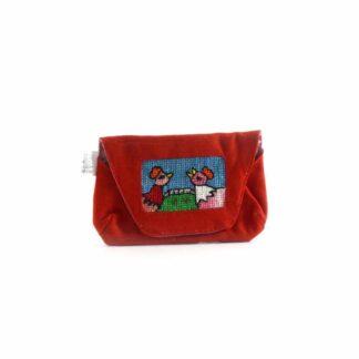 Piros tyúkocskás papírzsebkendő tartó