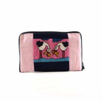 Kék-rózsaszín halászmadaras pénztárca